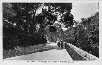 Europa Road - Old postcard depicting the section of Europa Road, between The Rock Hotel and Gibraltar Botanic Gardens.