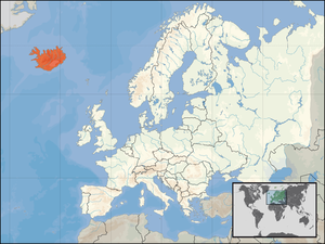 Icelanders - Map showing Iceland in northern Europe