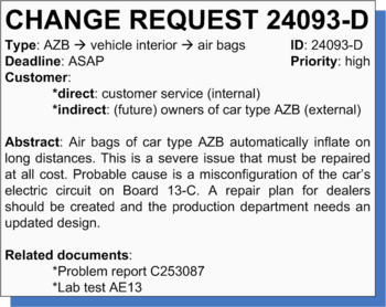 Figure 2: Example change request for the car industry