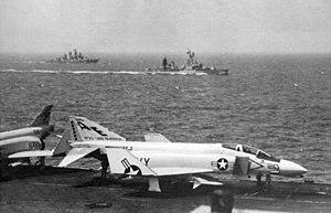 USS William C. Lawe (DD-763) - William C. Lawe screening USS ''America'' from a Soviet Kashin class destroyer, 1967.