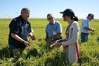 Margaret Hamburg - Hamburg (center right) visits a California rice farm in 2013 while Commissioner of the FDA