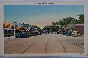 English: Vintage Postcard showing Post Road in...