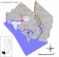 Map of Fairton CDP in Cumberland County