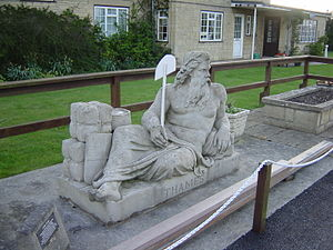 River Thames - A statue of Old Father Thames by Raffaelle Monti at St John's Lock, Lechlade