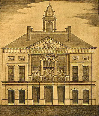 Richard Bland Lee - New York City Federal Hall, Seat of Congress. 1790 copper engraving by A. Doolittle, depicting Washington's April 30, 1789 inauguration.