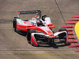 Formula E - Felix Rosenqvist at the 2017 Berlin ePrix, showing the updated season 3 spec front wing.