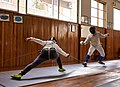 Fencing in Greece. The fencer Agapitos Papadimitriou (left) at Athenaikos Fencing Club.jpg