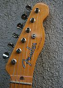 Telecaster headstock, with six inline tuning pegs (machine heads) down one side