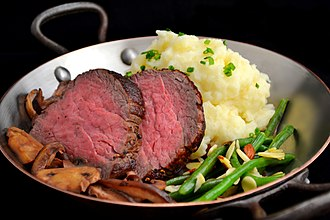 Filet mignon - Filet mignon with mashed potato, string beans and mushrooms