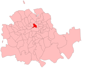 Finsbury East by-election, 1918 - Finsbury East in the Metropolitan area, showing boundaries used from 1885 to 1918.