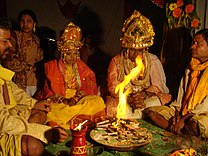 Fire rituals at a Hindu Wedding, Orissa India.jpg