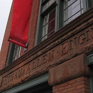 The BCA Center - Front of The BCA Center. The inscription pays tribute to its history as the Ethan Allen Firehouse.