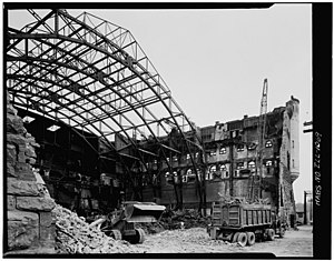 Richard Nickel - Demolition of the First Regiment Infantry Armory, Chicago. 1967 photograph by Richard Nickel for the HABS—Historic American Buildings Survey.