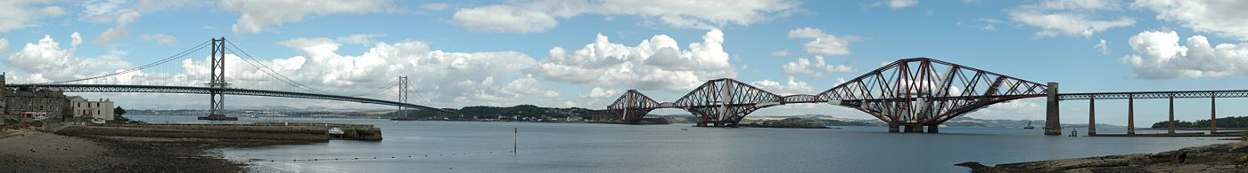 Firth of Forth Road (links) & Rail (rechts) bruggen