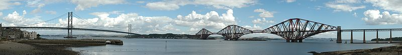 Panoramic view of the Forth Road Bridge (left) and Forth Bridge (right) overlooking the Firth of Forth towards North Queensferry (Fife) from South Queensferry.