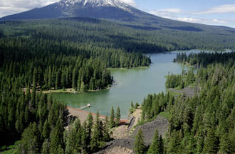 Little Butte Creek - Fish Lake with Mount McLoughlin in the background
