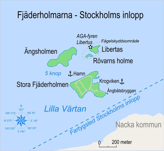 Mapa de las Fjäderholmarna