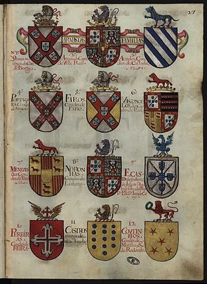 Portuguese heraldry - Coat of arms of some of the most notable Portuguese lineages, in the 17th century armorial Thesouro da Nobreza.