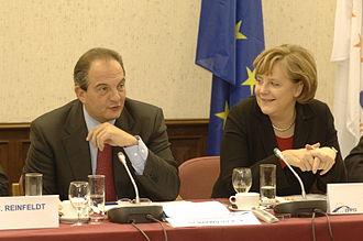 Kostas Karamanlis - Kostas Karamanlis with Angela Merkel in 2006