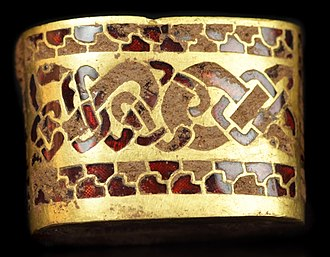 Cloisonné - 8th (?) century Anglo-Saxon sword hilt fitting, gold with garnet cloisonné  inlay. From the Staffordshire Hoard, found in 2009, and not fully cleaned.