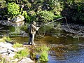 Fly fisherman braving the midges on the Abhainn Mhor - geograph.org.uk - 1258915.jpg