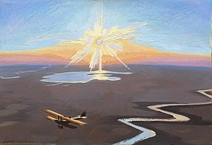 Sydney Carline - Flying Over the Desert at Sunset, Mesopotamia (1919) (Art.IWM ART 4623)