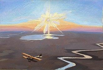 Sydney Carline - Flying Over the Desert at Sunset, Mesopotamia (1919) (Art.IWM ART 4623)