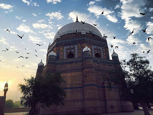 "Flying Pigeon around Tomb of Rukn-e-Alam (""Pillar of the World"") in Multan"