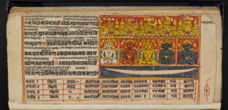Pañca-Parameṣṭhi - The miniature depicts the Pancaparameṣṭhi on Siddhaśilā. Folio from the Saṁgrahaṇīratna by Śrīcandra in Prakrit with interlinear Gujarati commentary, 17th century (British Library Or 2116C)