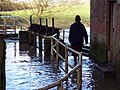 Footbridge underwater at Sturminster Newton Mill - geograph.org.uk - 336302.jpg