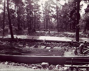 Forest Theater - Works Progress Administration workers rebuilding the Forest Theater in 1939.
