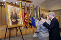 Former Secretary of Defense Donald H. Rumsfeld, right, and two family friends look at his portrait at the Pentagon June 25, 2010 100625-D-JB366-029.jpg