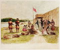Fur trading at Fort Nez Percés in 1841 by Joseph Drayton.