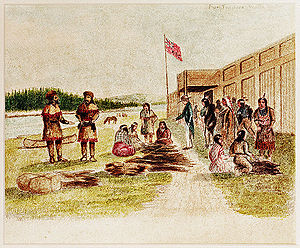 Fur trading at Fort Nez Percés in 1841.