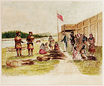 Fur trading at Fort Nez Percés. Chief trader Archibald McKinley inspects pelts.