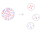 Simple illustration of founder effect. The original population is on the left with three possible founder populations on the right.