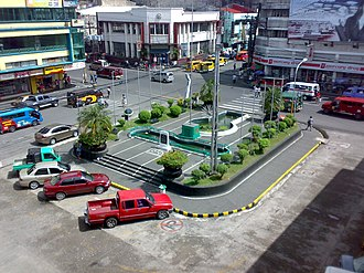 Bacolod - Fountain of Justice and downtown Bacolod