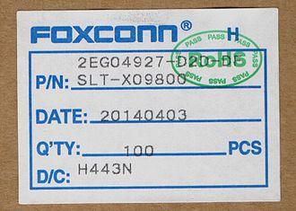 Foxconn - Foxconn connector box tag in 2014