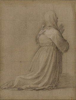 Fra Bartolomeo - Woman kneeling in prayer, seen from behind (study for the figure of St Catherine) - Google Art Project