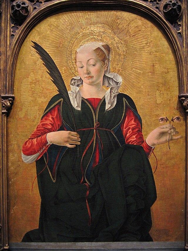 Saint Lucy by Domenico Beccafumi, 1521, (Pinacoteca Nazionale, Siena) dans images sacrée 640px-Francesco_del_Cossa_-_Saint_Lucy