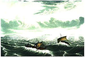 Halkett boat - Image: Franklin's canoes in gale