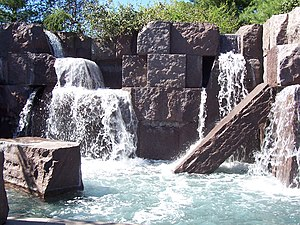 Franklin Delano Roosevelt Memorial - Small manmade waterfalls located in the memorial
