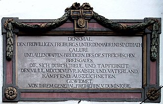 History of Freiburg - Memorial plaque on the Martinstor for the burial militaries of Breisgau, who fell in the war against the French Revolutionary Army.