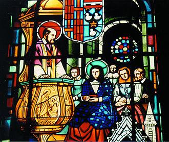 Jane Frances de Chantal - Francis de Sales meets Jane Frances de Chantal, cutout from a window in the cathedral of Annecy