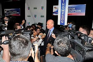 Spin room - Former U.S. Senator and debate participant Fred Thompson addresses reporters in the spin room following a Republican presidential primary debate in 2007.