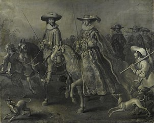 Frederick V (1596-1632), Elector of the Palatinate, King of Bohemia, and his wife Elizabeth Stuart (1596-1662) on horseback