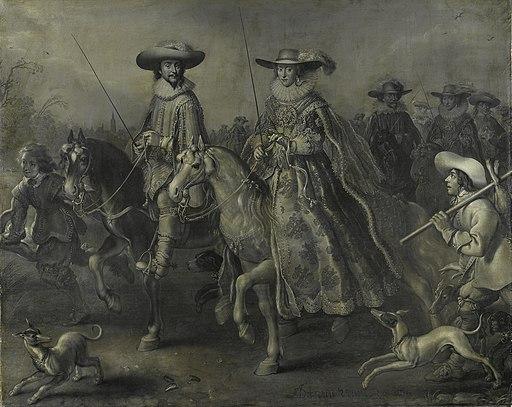 Frederick V (1596-1632), keurvorst van de Palts, koning van Bohemen, en zijn echtgenote Elisabeth Stuart (1596-1662) te paard Rijksmuseum SK-A-958