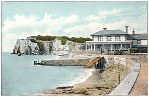 Freshwater, Isle of Wight - Freshwater Bay, circa 1910. The large building in the foreground is The Albion, a Victorian hotel built in response to an influx in popularity