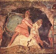 Mithras and the Bull: fresco from the mithraeum at the town of Doura Europos on the Euphrates river.