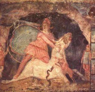 Mithra y el toro, fresco de la ciudad de Dura Europos, datable hacia los años 168 a 256